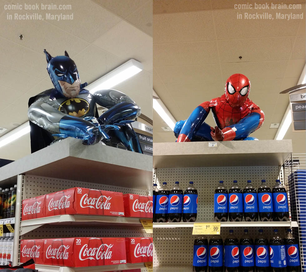 Batman and Spiderman Blow Up figures