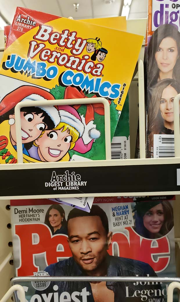 Archie Jumbo Christmas Winter on the racks at a grocery store
