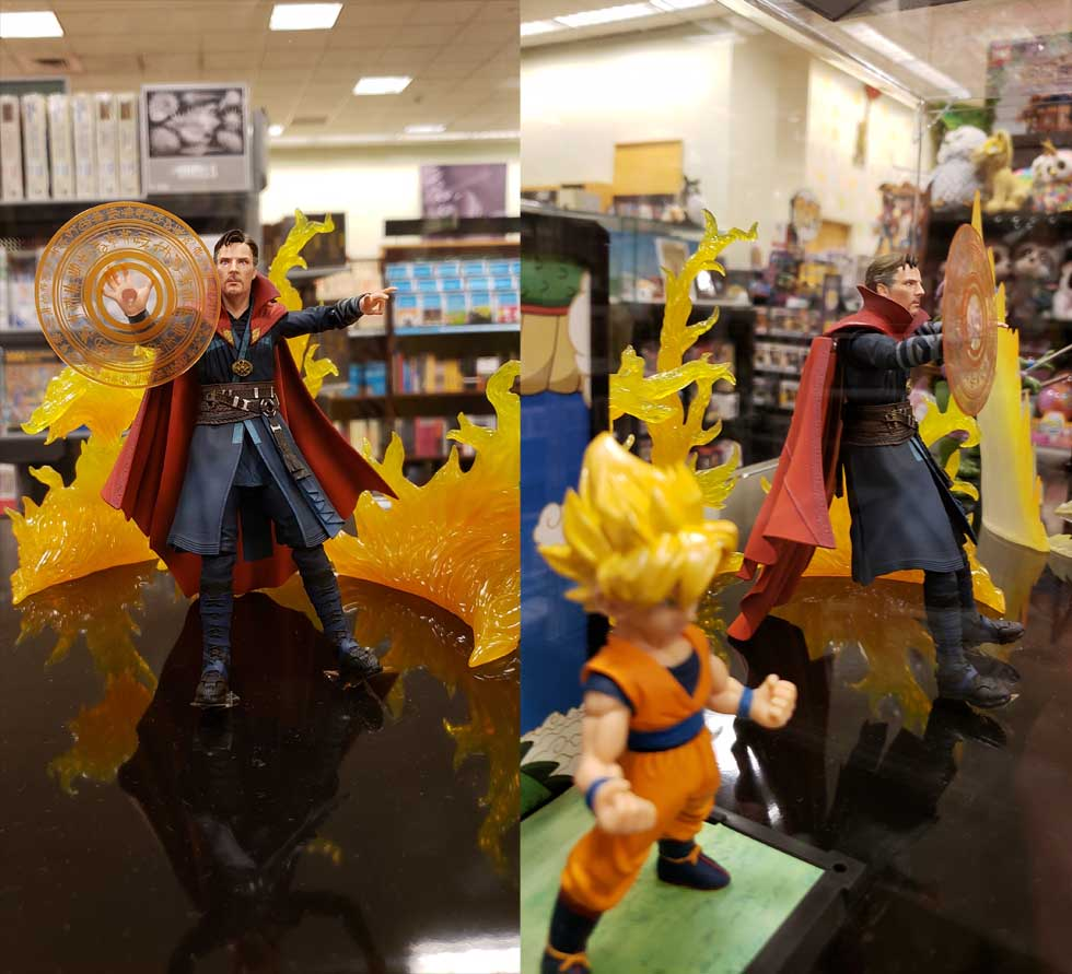Doc Strange Figures in show case at Barnes and Noble