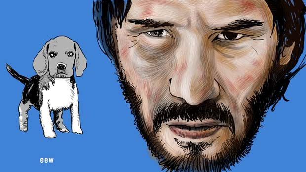Keanu Reeves - John Wick and Beagle Dog